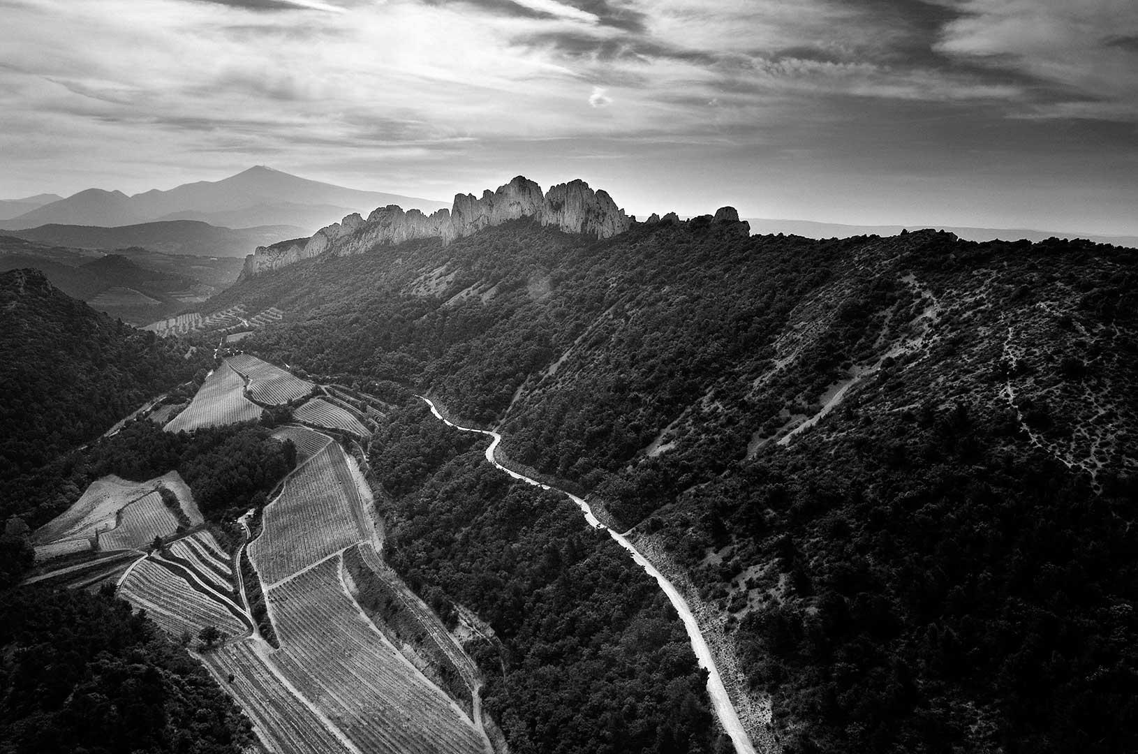 Vignoble de Gigondas, vue aérienne, photo Emmanuel Perrin